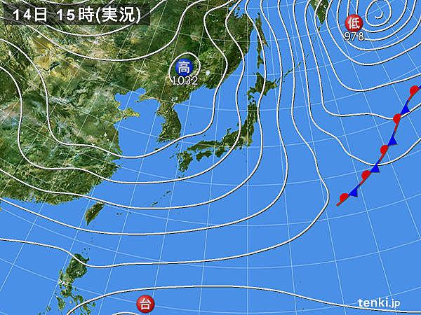 実況天気図(2017年12月14日)