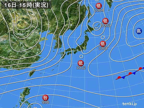 実況天気図(2017年12月16日)