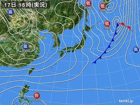 実況天気図(2017年12月17日)