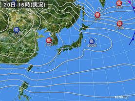 実況天気図(2017年12月20日)