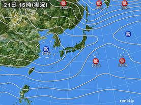 実況天気図(2017年12月21日)