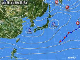 実況天気図(2017年12月22日)