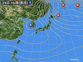 実況天気図(2017年12月28日)