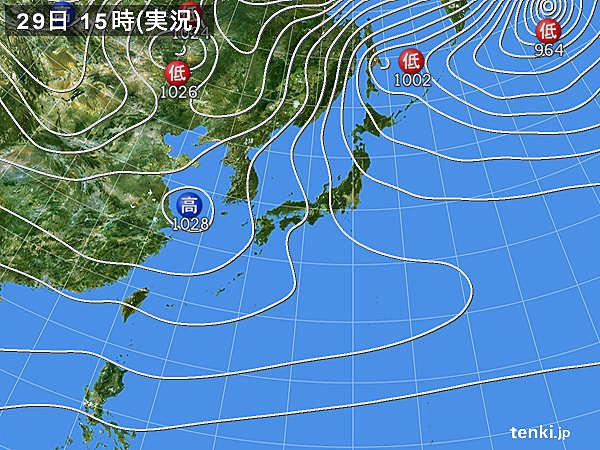 実況天気図(2017年12月29日)