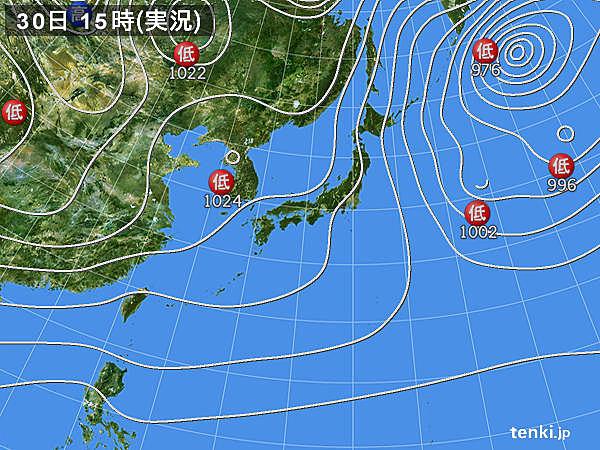実況天気図(2017年12月30日)