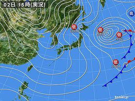 実況天気図(2018年01月02日)