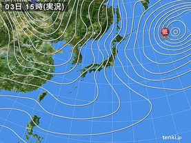 実況天気図(2018年01月03日)