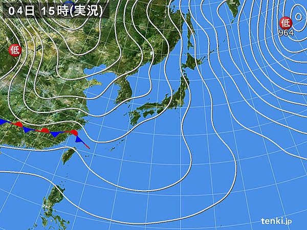 実況天気図(2018年01月04日)