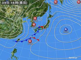 実況天気図(2018年01月08日)