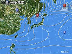 実況天気図(2018年01月11日)