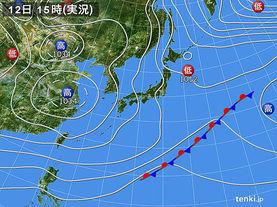 実況天気図(2018年01月12日)