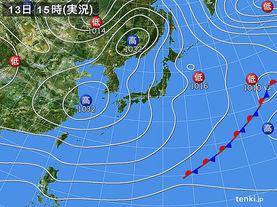 実況天気図(2018年01月13日)