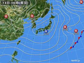 実況天気図(2018年01月14日)