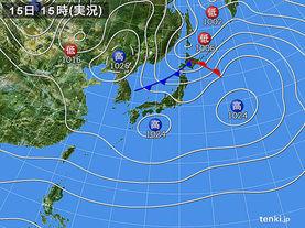 実況天気図(2018年01月15日)