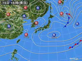 実況天気図(2018年01月16日)