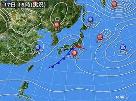 実況天気図(2018年01月17日)