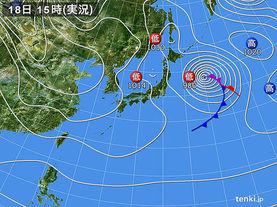 実況天気図(2018年01月18日)