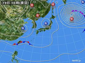 実況天気図(2018年01月19日)