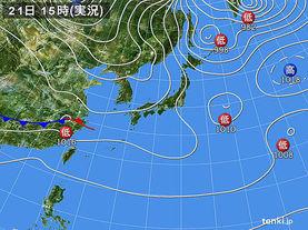 実況天気図(2018年01月21日)