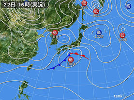 実況天気図(2018年01月22日)