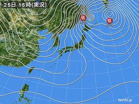 実況天気図(2018年01月25日)