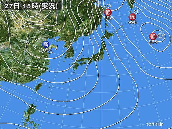実況天気図(2018年01月27日)