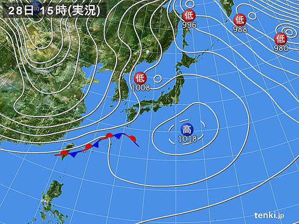 実況天気図(2018年01月28日)