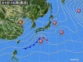 実況天気図(2018年02月01日)