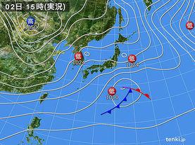 実況天気図(2018年02月02日)