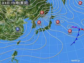 実況天気図(2018年02月04日)