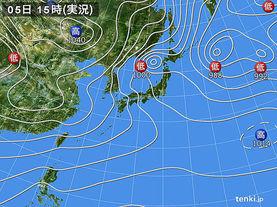 実況天気図(2018年02月05日)