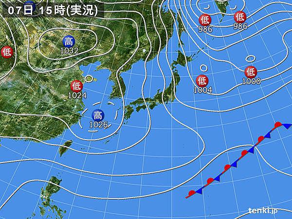 実況天気図(2018年02月07日)