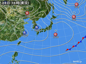 実況天気図(2018年02月08日)