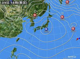 実況天気図(2018年02月09日)