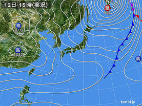 実況天気図(2018年02月12日)
