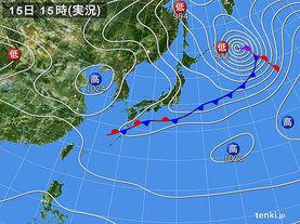 実況天気図(2018年02月15日)