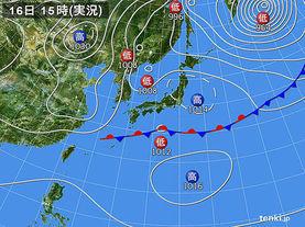 実況天気図(2018年02月16日)