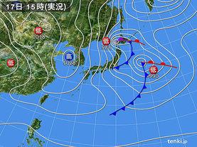 実況天気図(2018年02月17日)