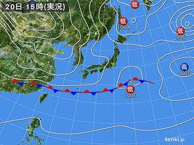 実況天気図(2018年02月20日)