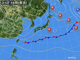 実況天気図(2018年02月21日)