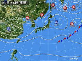 実況天気図(2018年02月22日)