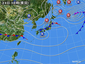実況天気図(2018年02月24日)