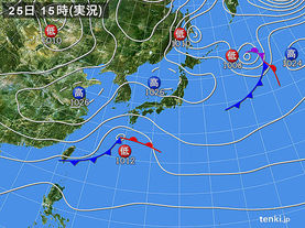 実況天気図(2018年02月25日)