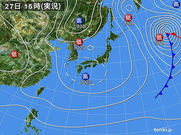 実況天気図(2018年02月27日)