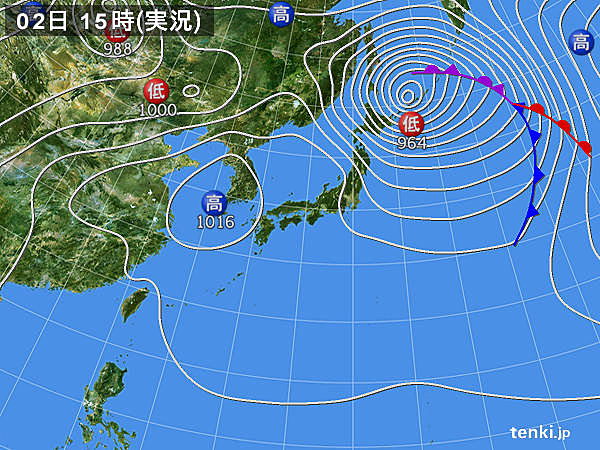 実況天気図(2018年03月02日)