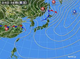 実況天気図(2018年03月04日)