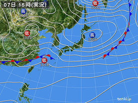 実況天気図(2018年03月07日)