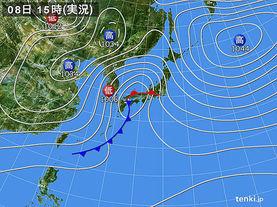 実況天気図(2018年03月08日)