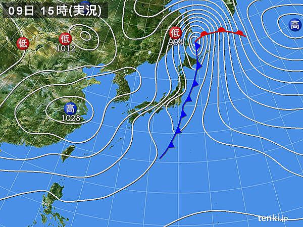 実況天気図(2018年03月09日)