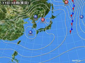 実況天気図(2018年03月11日)